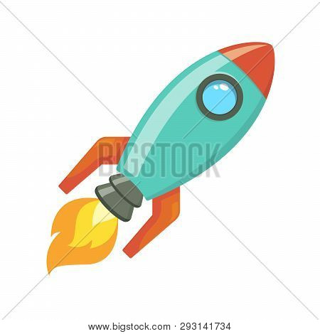 Cartoon Rocket Spaceship Take Off, Vector Illustration. Simple Retro Spaceship Icon.