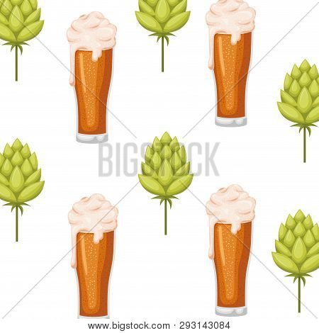 Pattern Beer With Foam And Pinecone Icon Vector Illustration Desing