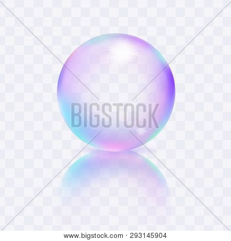 Water Soap Bubble Isolated On Transparent Background. Liquid Ball Template. Clear Sphere With Soft S