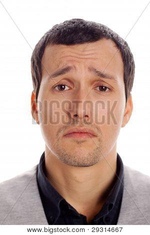 sad man with white background