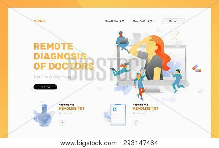Remote Diagnosis Of Doctors Vector Header Or Frontpage Template. Tiny Physicians Around Woman With H