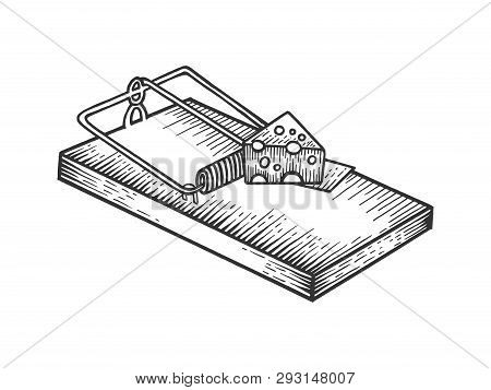 Mousetrap With Cheese Sketch Engraving Vector Illustration. Scratch Board Style Imitation. Black And