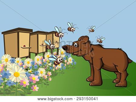 The Bear Came For Honey. Bees Fly Around With Displeasure. Vector Illustration.
