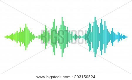 Soundwave With Green And Blue Gradient. Audio Equalizer Technology, Pulse Musical. Music Wave. Sound