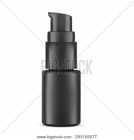 Eye Serum Cosmetic Bottle. Highlight Pump Dispenser Vial For Face Care Treatment. Black Container Mo