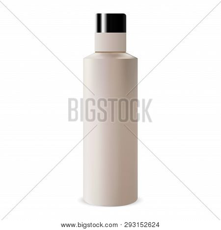 Round Cosmetic Shampoo Bottle. Beige Plastic Tubular Package. Closed Round Blank Packaging Mockup Wi
