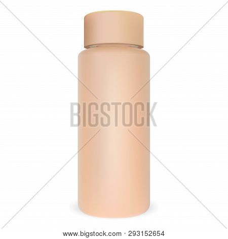 Cosmetic Bottle Tubular Mockup. 3d Round Jar Pack. Cylinder Shampoo Package. Beige Cosmo Container D