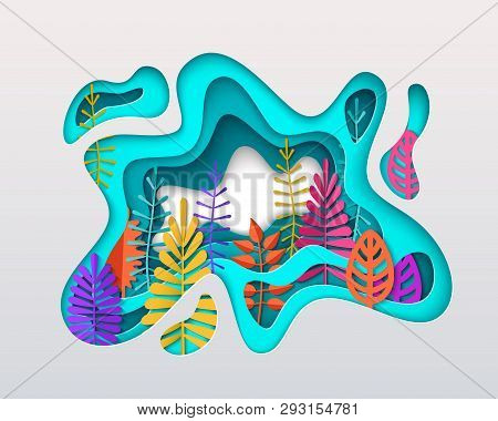 Spring Summer Autumn Composition With Colorful Leaves Inscribed In Paper Cut Layered Spot. Bright Co
