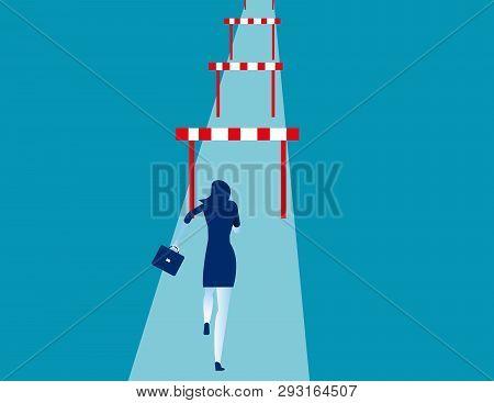 Businesswoman Hurdler. Concept Business Success Vector Illustration.
