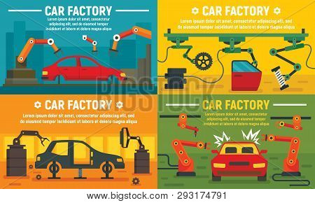 Industry Car Factory Banner Set. Flat Illustration Of Industry Car Factory Vector Banner Set For Web