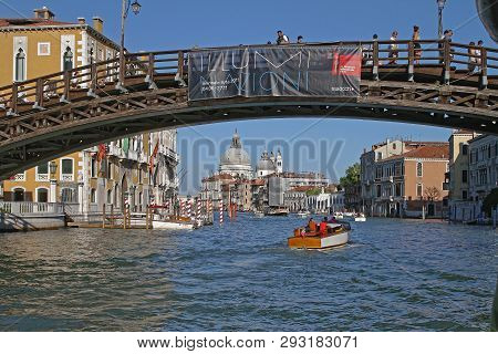 Venice, Italy - July 10, 2011: Accademia Wooden Bridge Over Grand Canal In Venice, Italy.