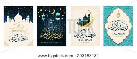 Ramadan Kareem Set Of Posters Or Invitations Design Paper Cut Islamic Lanterns, Stars And Moon On Go