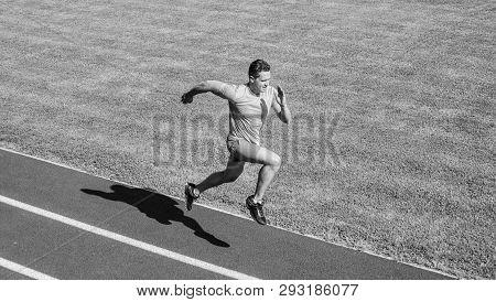 Run Into Shape. Running Challenge For Beginners. Athlete Run Track Grass Background. Sprinter Traini