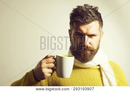 Bearded Man With Coffee Or Tea. Serious Man Having Cup Of Coffee In Kitchen. Morning Concept. Bearde