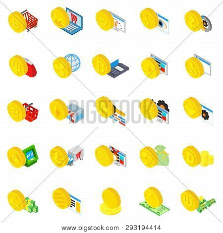 Cryptocurrency Icons Set. Isometric Set Of 25 Cryptocurrency Vector Icons For Web Isolated On White