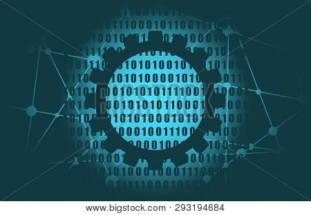 Binary Code Background With Digits On Screen. Algorithm Binary, Data Code, Decryption And Encoding,
