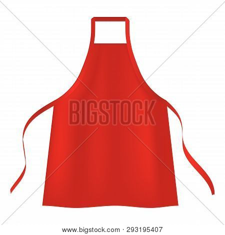 Red Apron Icon. Realistic Illustration Of Red Apron Vector Icon For Web Design Isolated On White Bac
