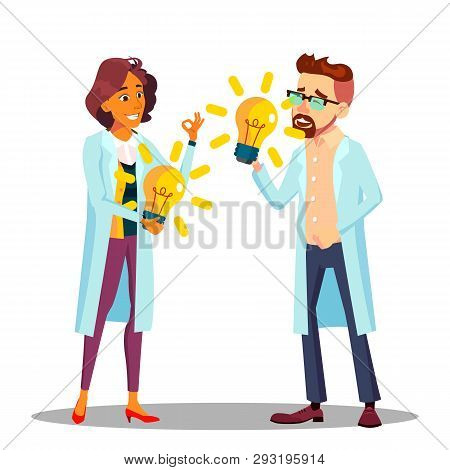 Inventor Man, Woman Vector. Scientist Or Business Person Inventor. Success Concept. Illustration