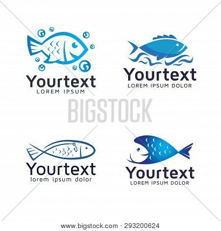 Collection Of Fish Logo Or Icons Design. Vector Set Of Fresh Fish And Seafood Logo Design. Fresh Sea