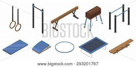 Gymnastics Equipment Icons Set. Isometric Set Of Gymnastics Equipment Vector Icons For Web Design Is