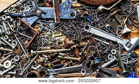 Metal Background - Steampunk, Old Tools, Nuts, Bolts And Beautiful Junk.