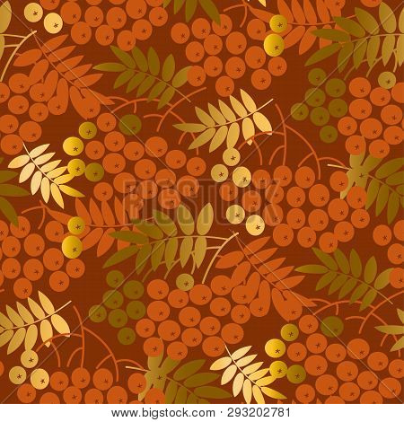 Golden Autumn Rowan Berries Seamless Pattern. Hall Brown Colors Decorative Natural Repeatable Motif.