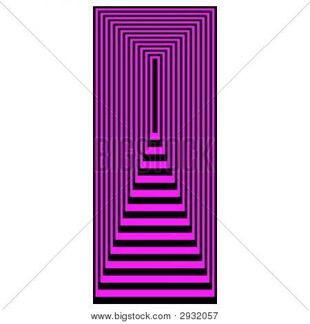 Op Art Concentric Rectangles Magenta Over Black