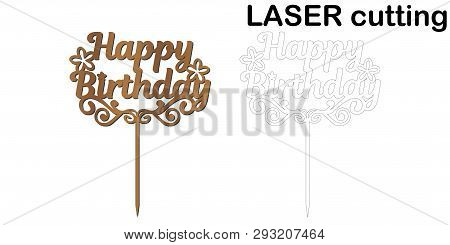 Sign Happy Birthday Cake Topper For Laser Or Milling Cut.