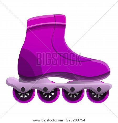 Purple Inline Skates Icon. Cartoon Of Purple Inline Skates Vector Icon For Web Design Isolated On Wh