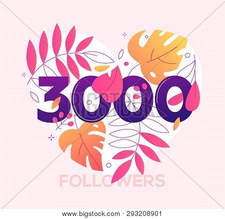 3000 Followers Banner - Modern Flat Design Style Illustration