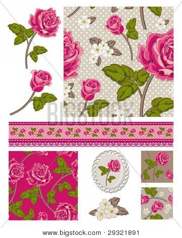 Patchwork Floral Rose Patterns and trims. Use to print onto fabric or paper craft projects.