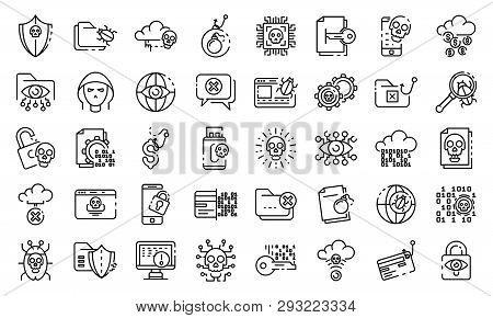 Cyber Attack Icons Set. Outline Set Of Cyber Attack Vector Icons For Web Design Isolated On White Ba