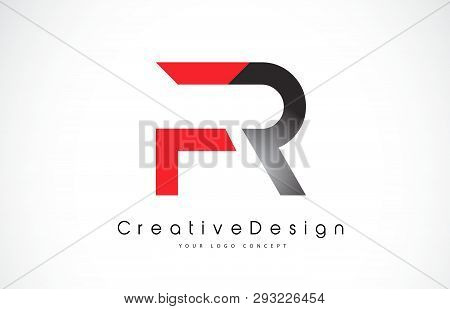 Red And Black Fr F R Letter Logo Design In Black Colors. Creative Modern Letters Vector Icon Logo Il