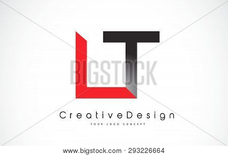Red And Black Lt L T Letter Logo Design In Black Colors. Creative Modern Letters Vector Icon Logo Il