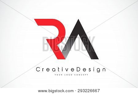 Red And Black Ra R A Letter Logo Design In Black Colors. Creative Modern Letters Vector Icon Logo Il