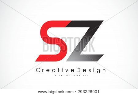 Red And Black Sz S Z Letter Logo Design In Black Colors. Creative Modern Letters Vector Icon Logo Il