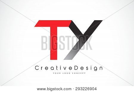 Red And Black Ty T Y Letter Logo Design In Black Colors. Creative Modern Letters Vector Icon Logo Il