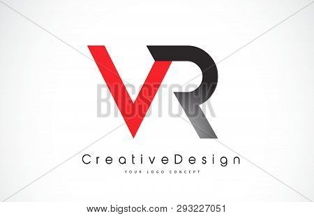 Red And Black Vr V R Letter Logo Design In Black Colors. Creative Modern Letters Vector Icon Logo Il