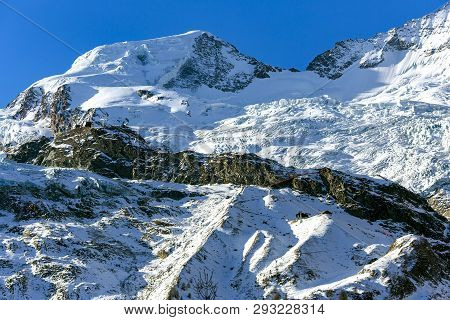 Giant Glacier Tongue Fee Glacier (fee Gletscher) Are Covered With Snow Creating A Beautiful Winter L