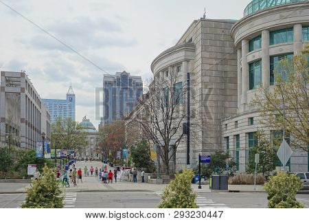 Raleigh,nc/usa - 03-30-2019: Pedestrian Mall In Downtown Raleigh Nc, Showing The North Carolina Muse