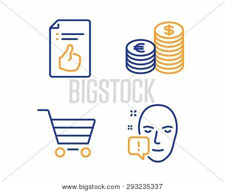 Currency, Approved Document And Market Sale Icons Simple Set. Face Attention Sign. Euro And Usd, Lik