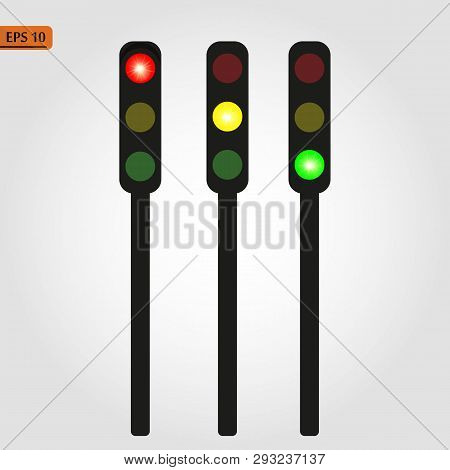 Traffic Light, Traffic Light Sequence Vector. Red, Yellow, Green Lights - Go, Wait, Stop.. Eps 10