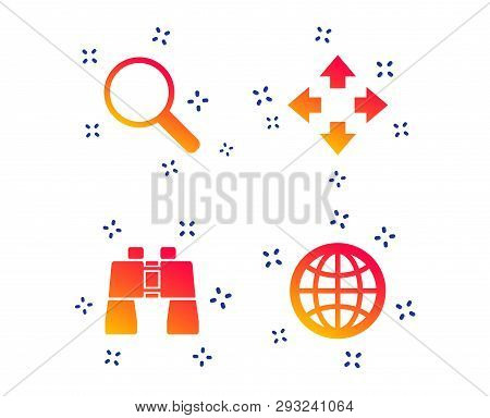 Magnifier Glass And Globe Search Icons. Fullscreen Arrows And Binocular Search Sign Symbols. Random