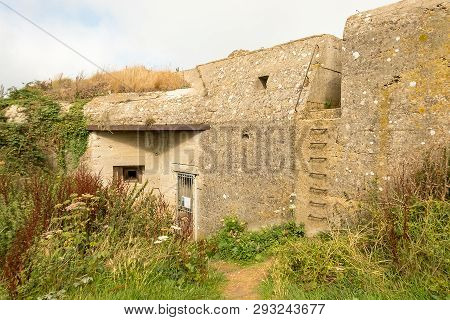 Fecamp, France - August 20, 2018: Germans Blockhouse Of The Second World War On The Cap Fagnet Near