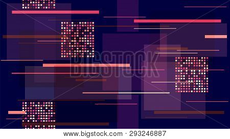 Racing Car Lights Night Life, Speed Lines, Neon It, Hi Tech Vector Pattern. Internet Technology Comm