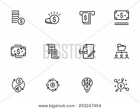 Finance Management Line Icon Set. Money, Cash, Currency Exchange, Cashback. Finance Concept. Can Be