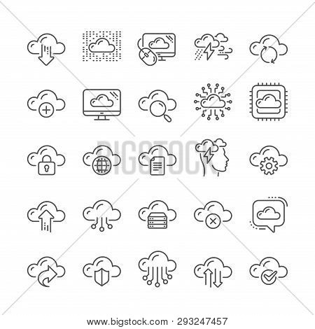 Cloud Data Line Icons. Set Of Hosting, Computing Data And File Storage Technology Icons. Archive, Do