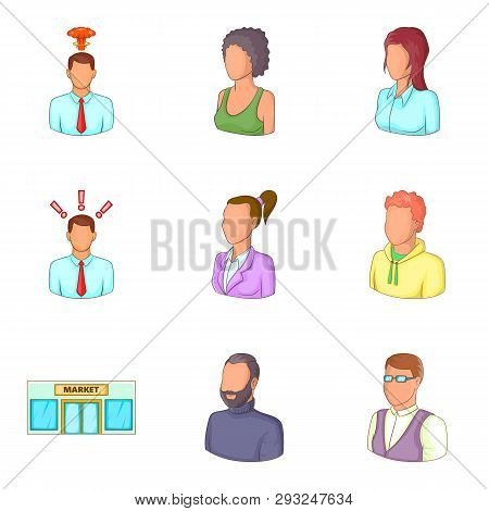Clerk Icons Set. Cartoon Set Of 9 Clerk Icons For Web Isolated On White Background