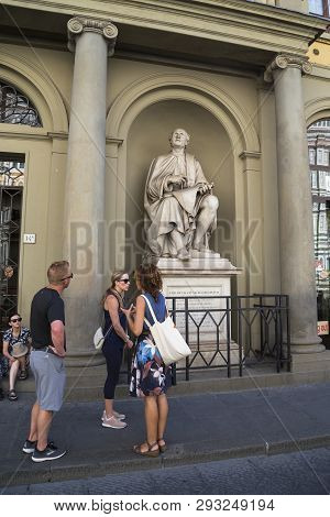 Florence, Italy - September 12, 2018: These Are Unidentified Tourists At The Monument To The Archite