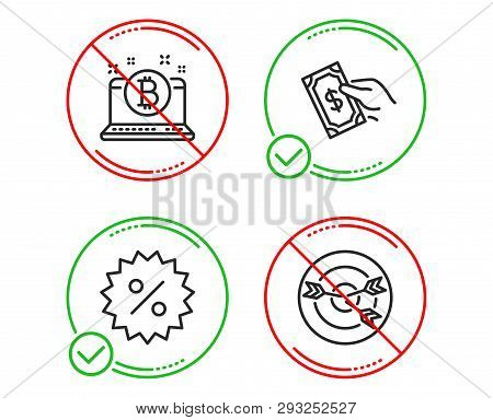Do Or Stop. Pay Money, Discount And Bitcoin Icons Simple Set. Targeting Sign. Hold Cash, Special Off